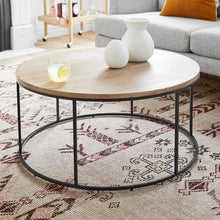 Load image into Gallery viewer, LINEA METAL AND SOLID WOOD ROUND COFFEE TABLE