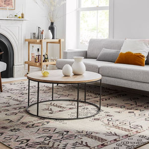 LINEA METAL AND SOLID WOOD ROUND COFFEE TABLE