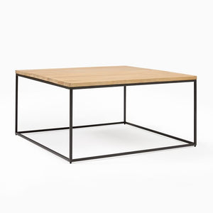 LINEA METAL AND SOLID WOOD SQUARE COFFEE TABLE