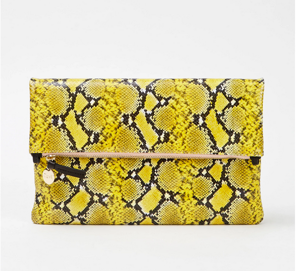 Foldover Clutch Mini yellow snakeskin
