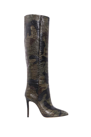 Moc Croco Tall Boot Stiletto Heel - Camo