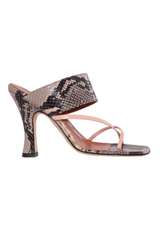 Python Print Crossover Thong Sandals - Stone/Nude