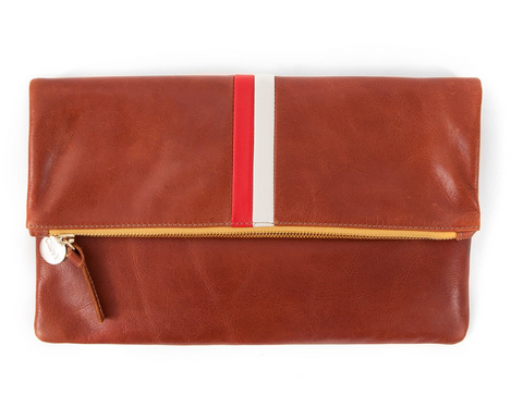 Foldover Clutch - Cognac with Stripes