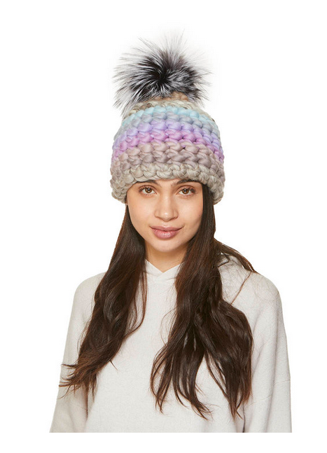 Purple Stripe Silver Pom