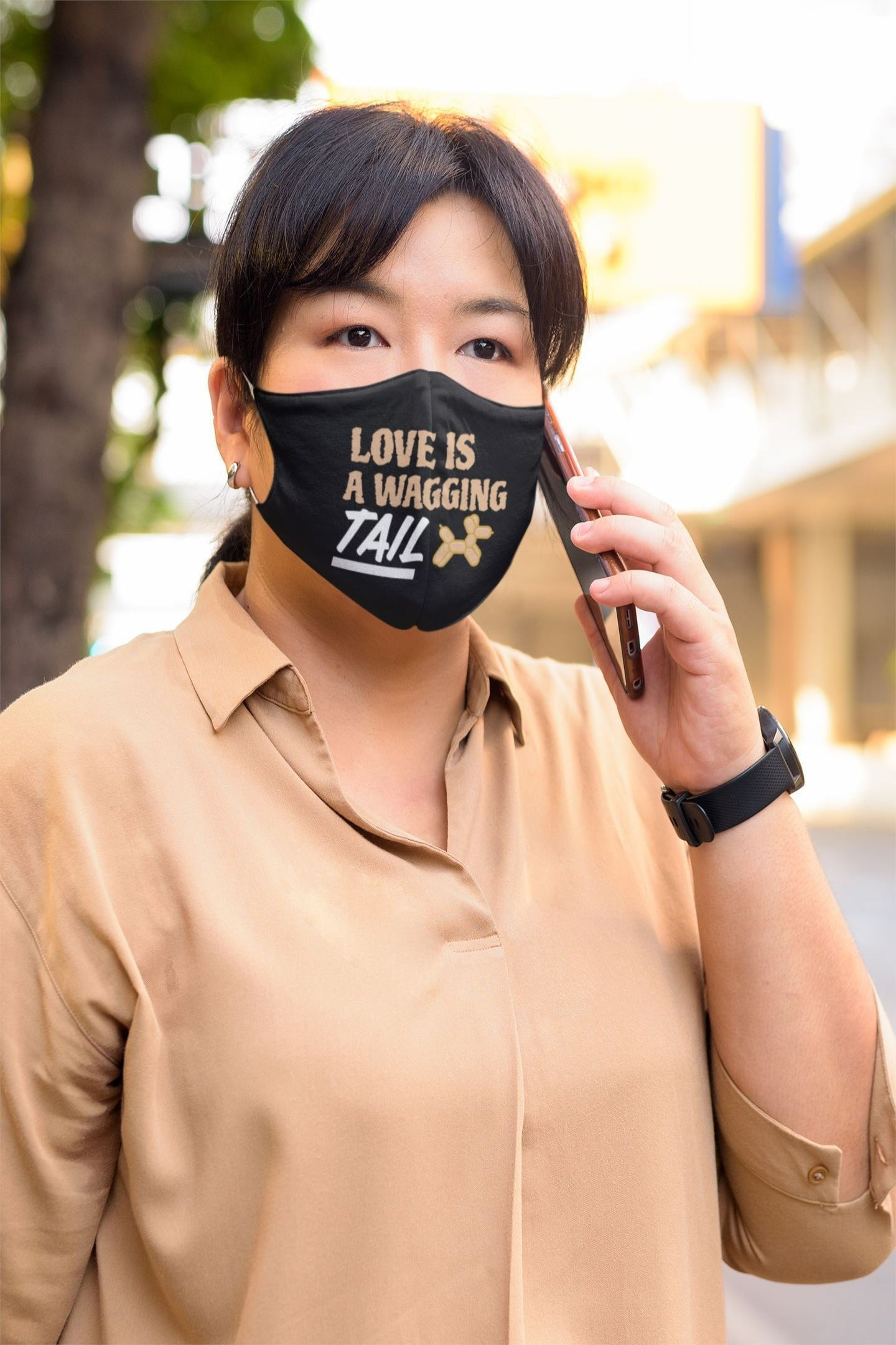 Love Is A Wagging Tail Face mask