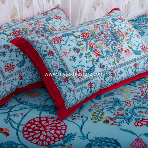 Bouquet Of Life Cotton Double Bed Sheet : Handmade in 20 Colors (Blue)