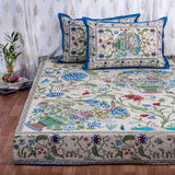 Bouquet Of Life Cotton Double Bed Sheet : Handmade in 20 Colors (Cream)