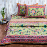 Green Floral Quilted Double Bed Cover & Bed Sheet Set