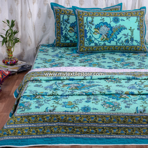 Turqoise Floral Quilted Double Bed Cover & Bed Sheet Set