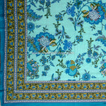 Gulmohar Cotton Double Bed Sheet : Handmade in 10 Colors (Turquoise)