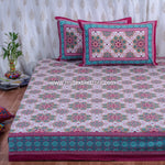 Lotus Inspired Cotton Double Bedsheet in Pink (100x108 inch)