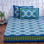 Lotus Inspired Cotton Double Bedsheet in Blue (100x108 inch)