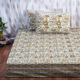 Yellow Garden Hand Block Print Cotton Double Bedsheet (108x108 inch)