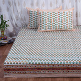 Orange Motifs Hand Block Print Cotton Double Bedsheet (108x108 inch)