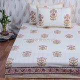 Yellow Floral Hand Block Print Cotton Double Bedsheet (120x108 inch)