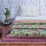 Green Gulmohar Cotton Double Bed Quilted Bed Cover (Comforter)