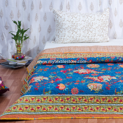 Blue Gulmohar Cotton Double Bed Quilted Bed Cover (Comforter)