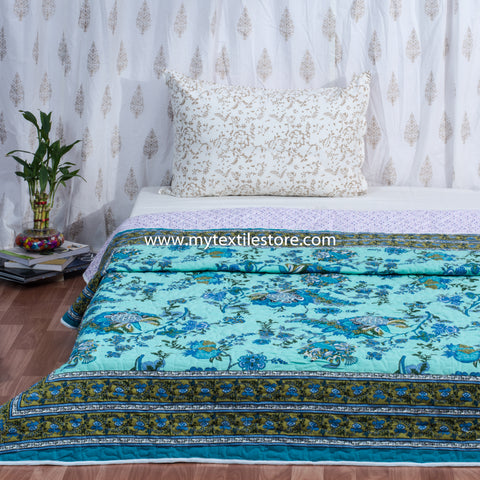 Turqoise Gulmohar Cotton Double Bed Quilted Bed Cover (Comforter)
