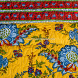 Yellow Gulmohar Cotton Double Bed Quilted Bed Cover (Comforter)
