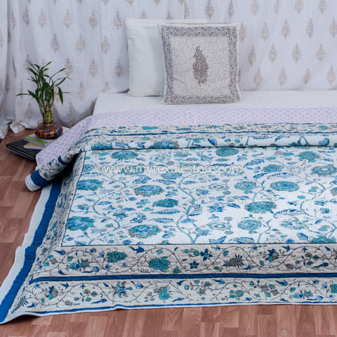 Blue Daisy Cotton Double Bed Quilted Bed Cover (Comforter)