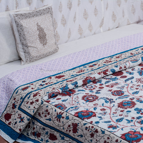 Maroon & Blue Double Bed Quilted Bed Cover (Comforter)