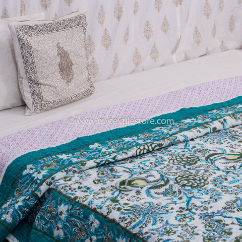 Turquoise Floral Cotton Double Bed Quilted Bed Cover (Comforter)
