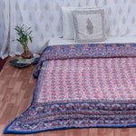Blue Booti Motifs Hand Block Print Double Bed Quilt