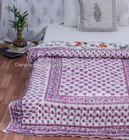 Purple Paan Reversible Single Bed Quilt