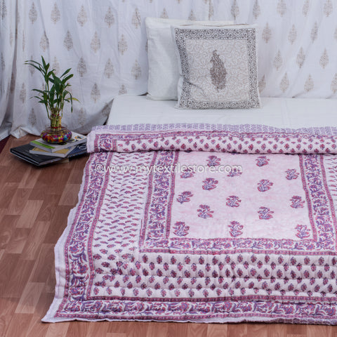Pink Jaal Reversible Single Bed Quilt