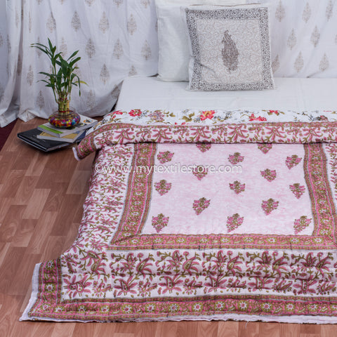 Pink Reversible Single Bed Hand Block Print Quilt