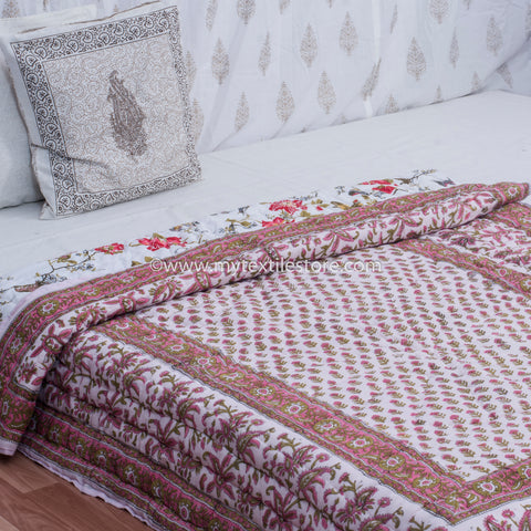 Maroon Floral Motifs Single Bed Reversible Quilt