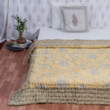 Yellow Floral Printed  Single Bed Quilt