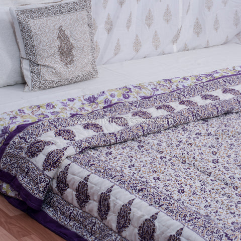 Purple Jaal Gold Printed King Size Quilt