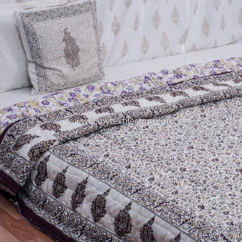 Brown Jaal Gold Printed King Size Quilt