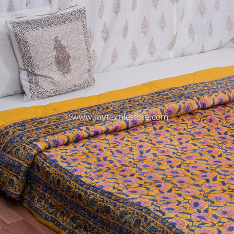 Yellow Floral Hand Block Print Double Bed Quilt