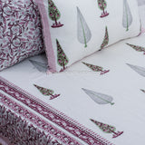 Maroon Trees Hand Block Print Cotton Double Bedsheet (108x120 inch)