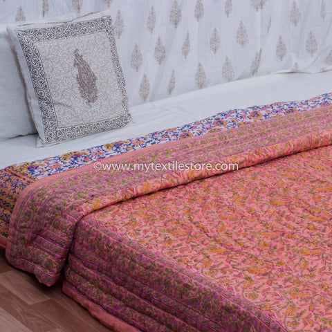 Peach Floral Hand Block Print Double Bed Quilt