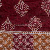 Maroon Mughal Hand Block Double Bed King Size Quilt