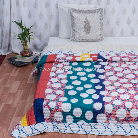 Polka Dots Hand Made King Size Quilt