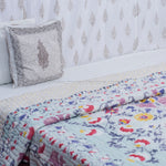 Multicolored Floral Double Bed Quilt