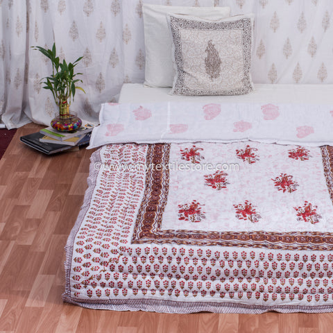 Red Lily Reversible Single Bed Quilt