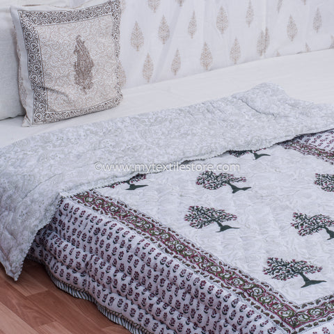 Maroon Motifs Reversible Single Bed Quilt