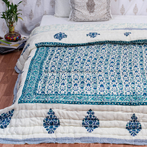 Blue Double Bed Floral Jaal Quilt