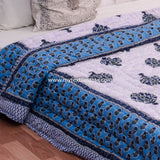 Blue Double Bed Quilt with Large Tree Motifs