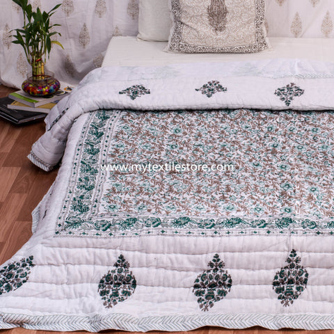 Brown Double Bed Floral Jaal Reversible Quilt