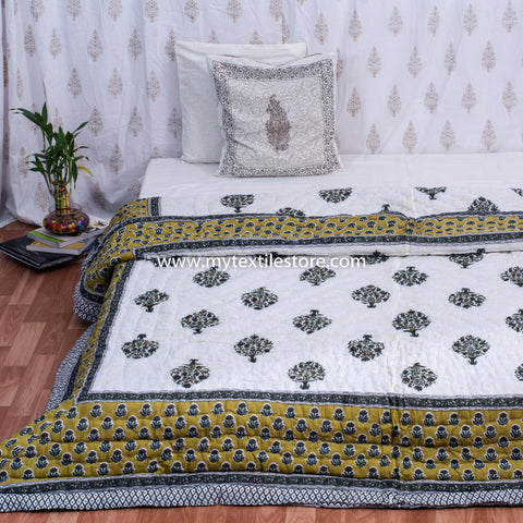 Mustard Double Bed Quilt with Large Tree Motifs