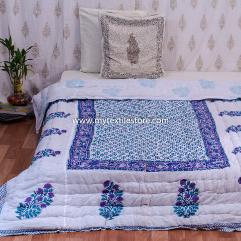 Blue Single Bed Quilt with Motifs Border