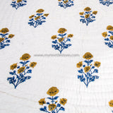 Yellow Floral Double Bed Reversible Quilt