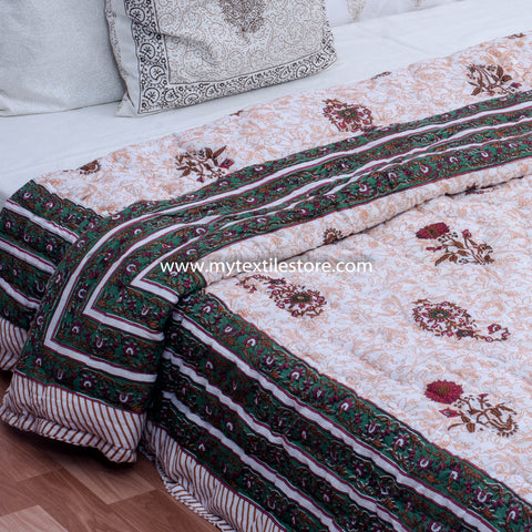 Orange Lily Double Bed Reversible Quilt