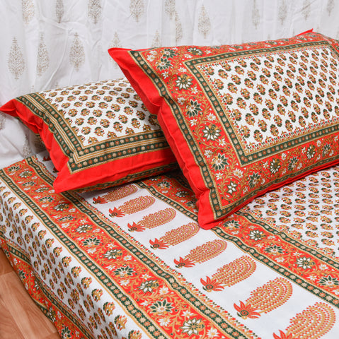 Red & Gold Print King Size Cotton Double Bedsheet